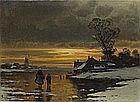 Carl BERTOLD (1870-?), (Swiss School), Oil on canvas, Figures crossing frozen lake in a Dutch winter landscape, Signed, Unframed, 18.25