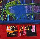 Mike HOGGETT, Acrylic on board, Untitled abstract in blue, red, pink, orange & green, Inscribed, signed & dated (20)07 to verso, Unframed, (6.5