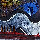 Mike HOGGETT, Acrylic on board, Untitled abstract in blues, white & red, Inscribed, signed & dated (20)07 to verso, Unframed, 6.5