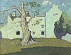 * Gyrth RUSSELL (1892-1970), Oil on board, 'Penmon Priory' near Bangor, North Wales, Inscribed to verso, Signed, 12.25