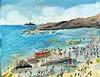 Roy DAVEY (b.1946), Acrylic on canvas board, Cornish Beach - figures enjoying the sunshine, Signed ROY, 13.5