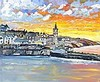 * Joe ARMSTRONG (20th / 21st Century Cornish School), Oil on canvas, Sunset, Porthleven Quay, Circa 2015, Signed with monogramme, 20