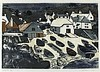 * Graham CLARKE (b.1941), Limited edition lino cut, 'Cadgwith' (Cornwall), Inscribed, signed & numbered 30/50 in pencil, 19.5