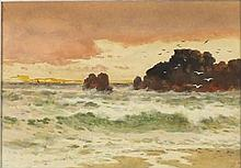 """Arthur SUKER (1857-1902) Watercolour Evening – the incoming tide Signed with initials 4.75"""" x 6.5"""" (13cm x 16.5cm) GBP"""