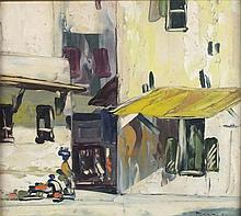 "* George DEAKINS  (1911-1982)  Oil on board  'Entrance to the Souk Zanzibar'  Signed & dated 1953  9.75"" x 10.75""(24.8cm x 27.3cm) GBP"