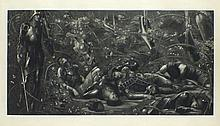 "Edward Coley BURNE-JONES (1833-1898) Black & white photograveau on wove 'The Briar Wood' from a set of four titled the Legend of Briar Rose One from a set of 4, published 1892 by Thomas Agnew & Sons Signed 16.5"" x 32.5"" image size (42cm x"