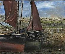 """David LANGSWORTHY (b.1942) Oil on board 'Old Quay Newlyn' Inscribed to verso Signed 9.75"""" x 11.75"""" (24.8cm x 29.8cm) GBP"""