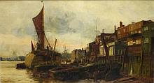 """Charles William WYLLIE (1853-1923) Oil on canvas 'A view on the Thames' Signed 16.5"""" x 30.5"""" (42cm x 77.5cm) GBP"""