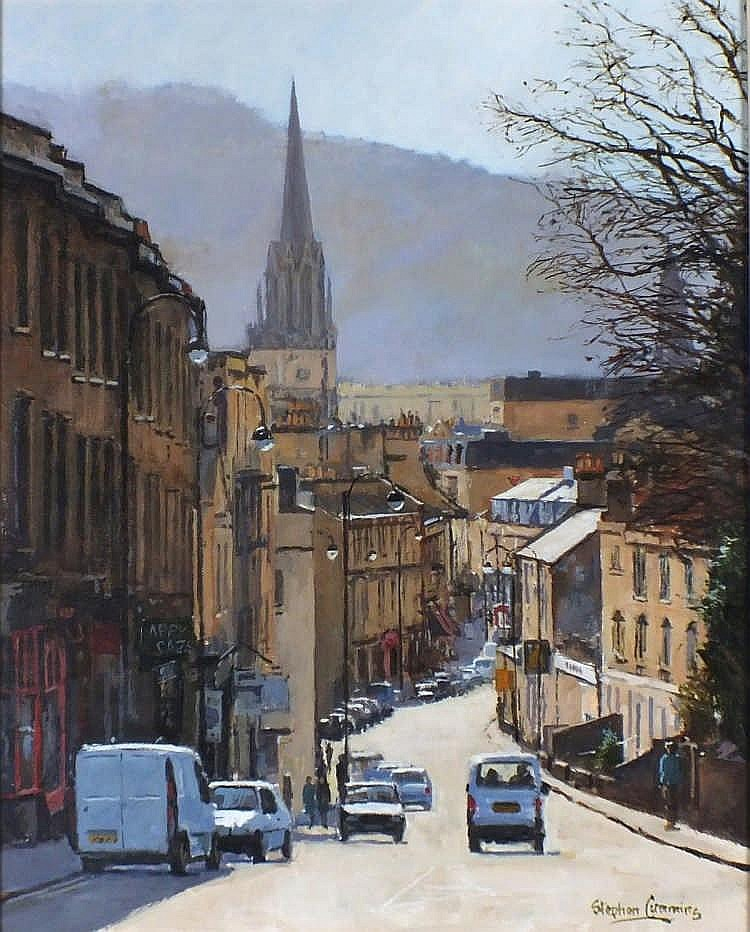 "Stephen CUMMINS (b.1943)  Acrylic on canvas  'Walcot Street Bath'  Inscribed on label  Siged  19.5"" x 15.5"" (49.5cm x 39.4cm) GBP"