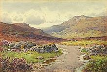 """Arthur SUKER (1857-1902) Watercolour 'A road over Dartmoor' Inscribed on label Signed 9.25"""" x 13.5"""" (23.5cm x 34.3cm) GBP"""
