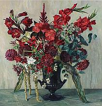 """* Gwen WHICKER (1900-1966) Oil on board 'Red Arrangement' Inscribed on part label to verso Signed 25.5"""" x 23.5"""" (64.8cm x 59.7cm) GBP"""