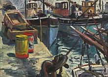 """* Marjorie MORT (1906-1989) Oil on canvas board Fishing boats & tackle Newlyn Harbour Signed 9.5"""" x 13.5"""" (24.1cm x 34.3cm) GBP"""