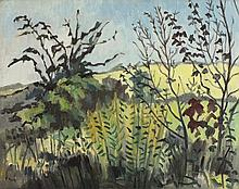 """* Marjorie MORT (1906-1989) Pair Oil on canvas board Landscape early spring: & Grasses & boughs in a rural landscape One signed Both unframed 15.25"""" x 19.75""""(38.7cm x 50.2cm) GBP"""