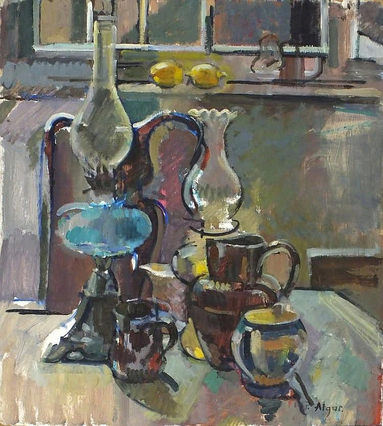 "Pat ALGAR (1939-2013)  Oil on board  Still life with brass lamps  Inscribed & signed to verso  Signed  Unframed  16"" x 14"" (40.6cm x 35.6cm) GBP"