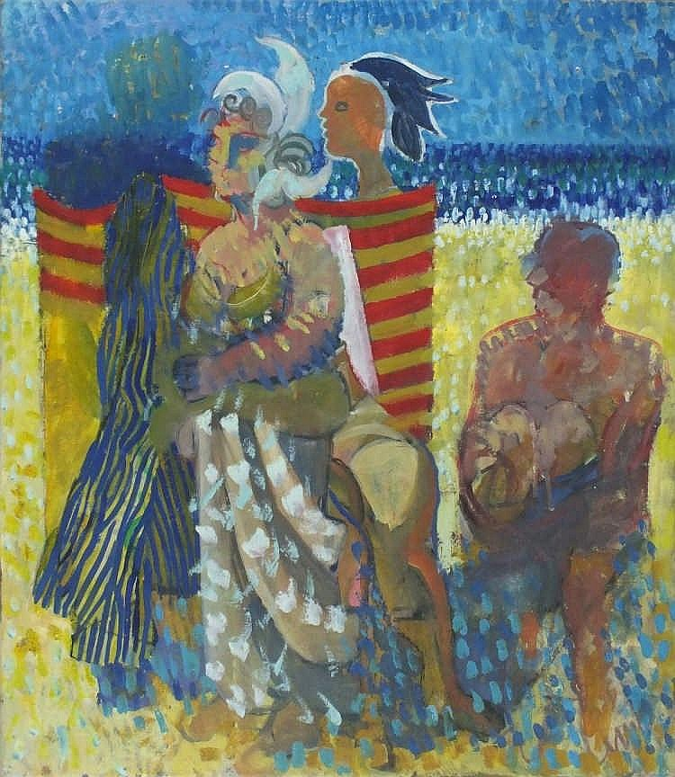 "Pat ALGAR (1939-2013)  Oil on canvas  'Beach Figures'  Unframed  27.5"" x 24.5"" (69.8cm x 62.2cm) GBP"