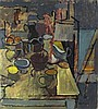 "Pat ALGAR (1939-2013)  Oil on board  Still life with jugs & lemons on a table top  Signed  Unframed  18"" x 16"" (45.7cm x 40.6cm) GBP, Pat Algar, Click for value"
