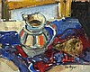 "Pat ALGAR (1939-2013)  Oil on board  'Jug & Pear' still life on a table cloth  Inscribed & signed to verso  Signed  Unframed  8"" x 10"" (20.3cm x 24.5cm) GBP, Pat Algar, Click for value"