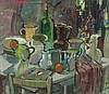 """Pat ALGAR (1939-2013)  Oil on paper laid on board & collage  Still life – kitchen table top assortment  Signed  13"""" x 15"""" (33cm x 38cm) GBP, Pat Algar, Click for value"""