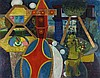 "Pat ALGAR (1939-2013)  (Married name Carr)  Oil on board  'Arcade'  Signed P.M. Carr & dated 1972  Unframed  28"" x 36"" (71.1cm x 91.4cm) GBP, Pat Algar, Click for value"