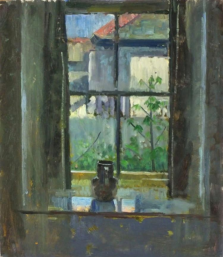 "Pat ALGAR (1939-2013)  Oil on board  View through the window, Wesley Place  Unframed  14"" x 12"" (35.6cm x 30.5cm) GBP"