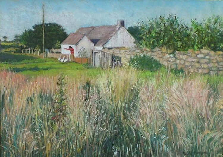 """* Paula HUMPHRIS (b.1934)  Pastel  Feeding the Geese  Inscribed & dated 1981 to verso  Signed  17.25"""" x 24.5""""(44.4cm x 62.2cm) GBP"""