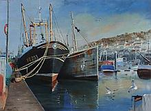 """David LANGSWORTHY (b.1942) Oil on board 'April Mist over Newlyn' – fishing boats alongside the quay Inscribed to verso Signed 18"""" x 24"""" (45.7cm x 61cm) GBP"""