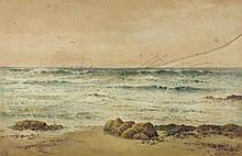 """Arthur SUKER (1857-1940) Watercolour 'Low Water near Land's End' Signed with initials 15"""" x 23"""" (38cm x 58.4cm) GBP"""
