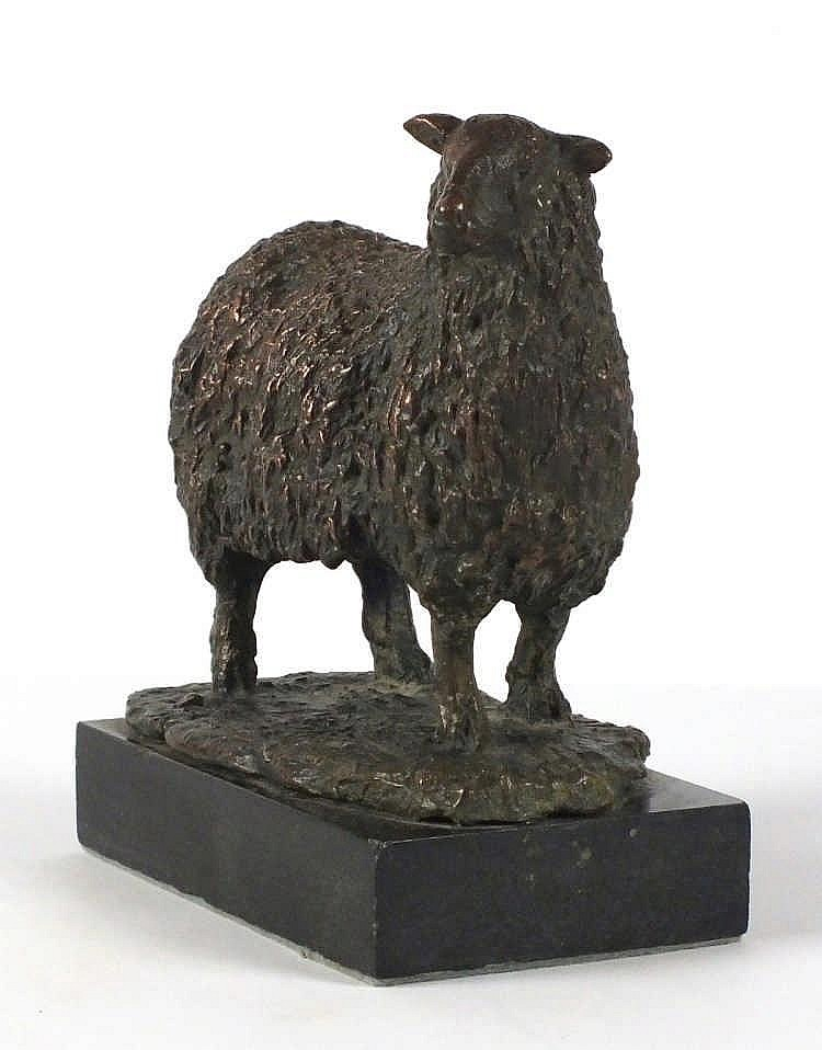 "Roger DEAN (b.1937)  A bronze sculpture of a Sheep  Signed with mongramme & dated (19)96  7"" high x 6"" across  (17.8cm x 15.2cm)  Note: the sculptor was Head of Sculpture Exeter College of Art & Design GBP"