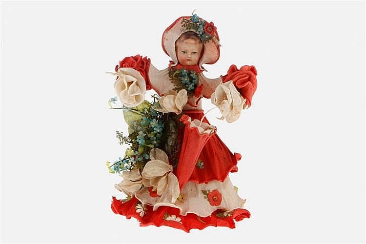 Massekopf-Puppe als Blumenmädchen mit Schirm