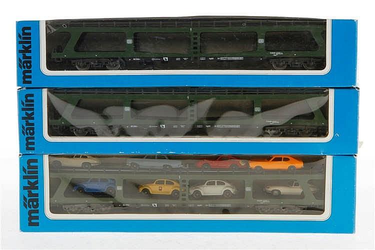 3 Märklin Auto-Transportwagen 4074/4084