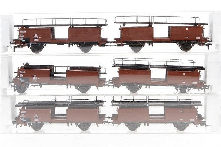 3 Kleinbahn Autotransport-Wagen 3522/1+2