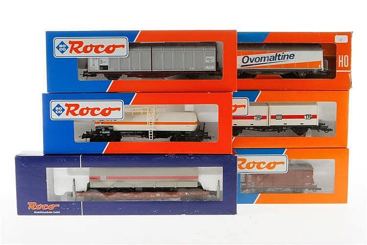 6 versch. Roco Güterwagen