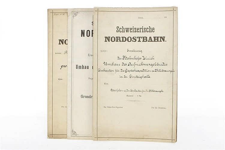 """3 Architektenzeichnungen der schweizerischen Nordostbahn """"Erweiterung Bahnhof Zürich"""""""