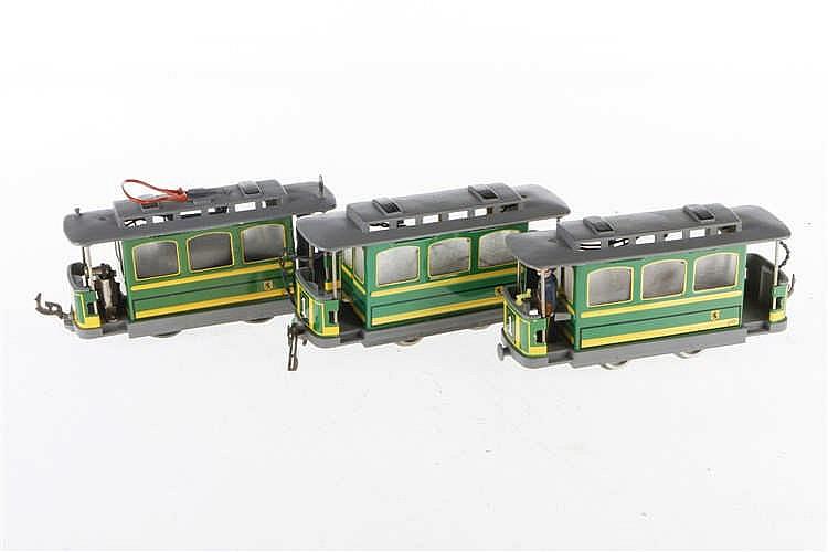 Eigenbau Straßenbahn mit 2 Beiwagen