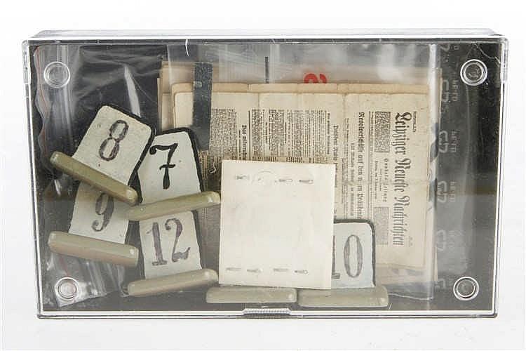 Konv. mit versch. Miniaturzeitungen und NB-Zahlentafeln