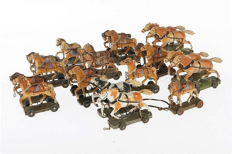 Konv. mit versch. Pferdegespannen