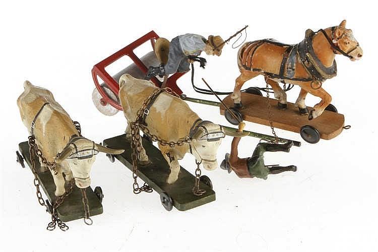 Konv. Bauer mit Walze und Pferd