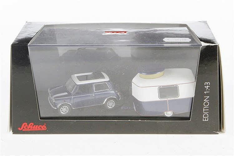Schuco Mini Cooper mit Wohnwagen 450244900