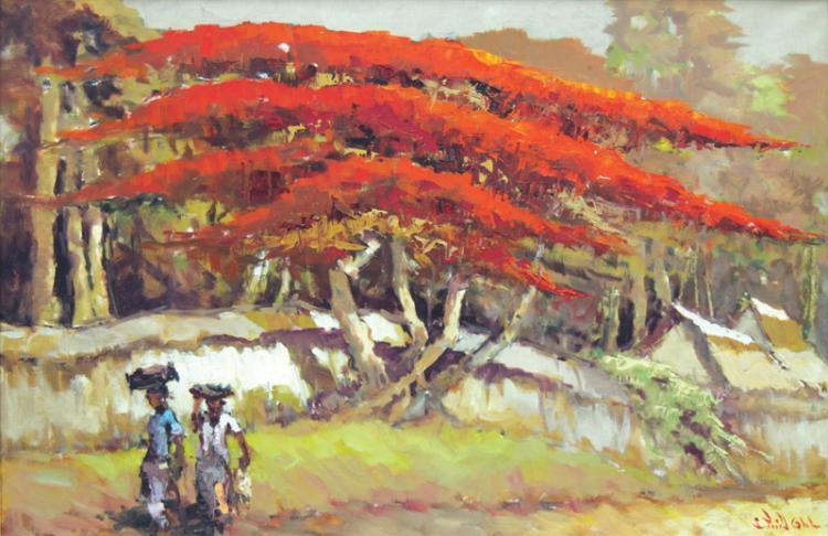 Women walking near a Flamboyant Tree