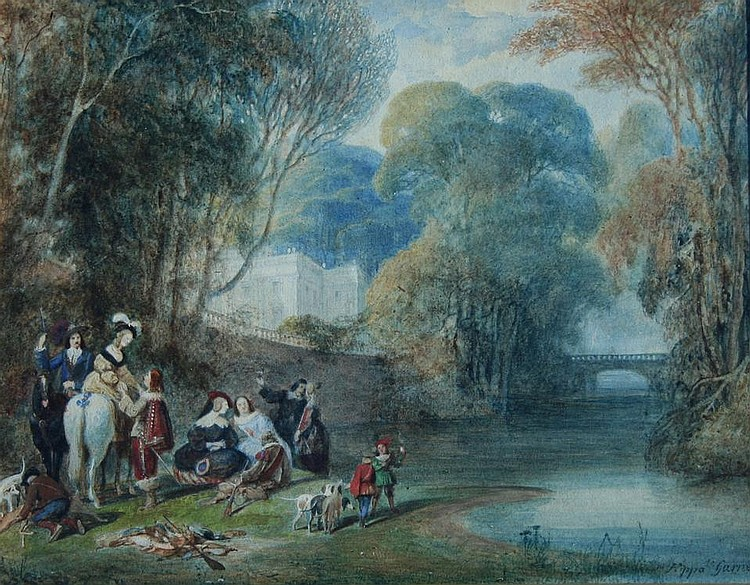 HIPPOLYTE GARNEREY (1787-1858) A HUNTING PARTY IN