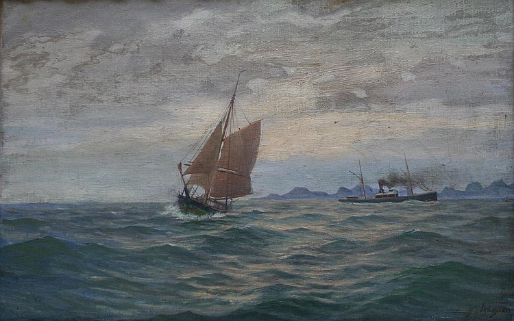 MARTIN AAGAARD (1863-1913) TWO VESSELS OFF A