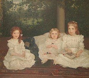 AUGUSTUS VINCENT TACK (American 1870-1949) PORTRAIT OF THREE SISTERS Each full length in white dresses, seated upon a mat in a loggia, a garden beyond, oil on canvas 115.5 x 131cm. E5000-7000 A label on the stretcher bears the artist's name and the