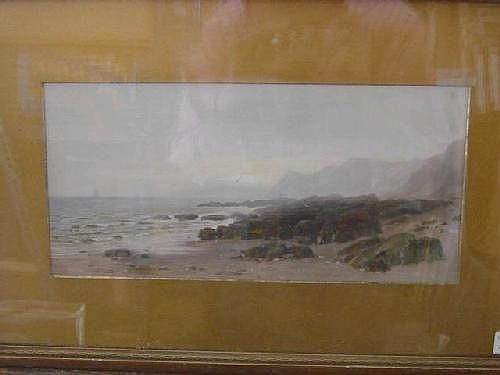 FREDERICK M. BELL SMITH (1846-1923) A ROCKY SHORE, A SHIP IN THE MIST ON THE HORIZON Signed (incised), oil on board 17.5 x 36.5cm.* The artist lived in Canada in later years. Good condition