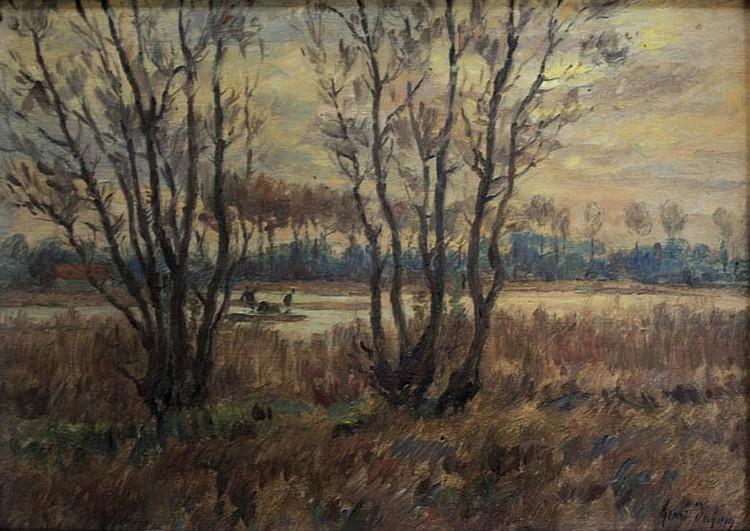 HENRI DUHEM (1860-1941) PAYSAGE ARLEUX: FIGURES IN
