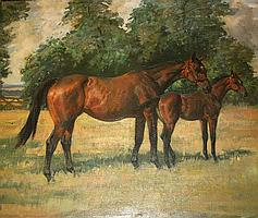 NINA COLMORE (1889-1973) MARE AND FOAL IN A FIELD