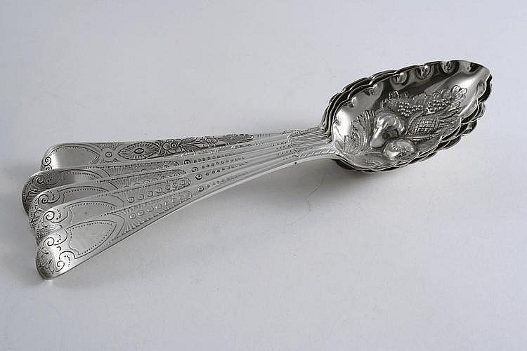 SIX LATER-DECORATED ANTIQUE TABLE SPOONS embossed