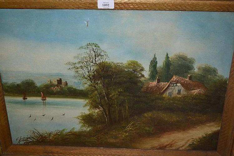 F. Johan, oil on canvas, lake scene with cottage