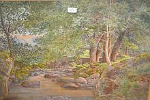 Joshua Renshaw, watercolour, wooded river landscape with a stone bridge, signed and dated 1878, 20ins x 30ins, in an ornate gilded composition frame