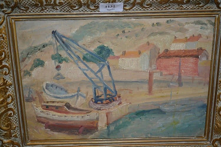 Naive style oil harbour scene with boats and crane togethe for Lawrence fish house