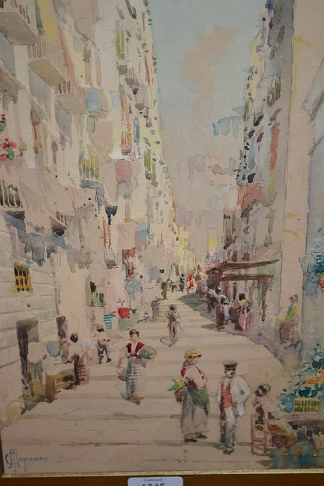 Michele Capuano, watercolour, figures in an Italian street scene, signed, 13ins x 8.75ins, gilt framed